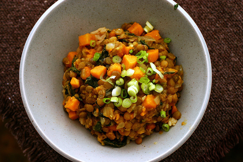 This sweet potato curried lentil dish can be made in one pot. Via Smitten Kitchen.