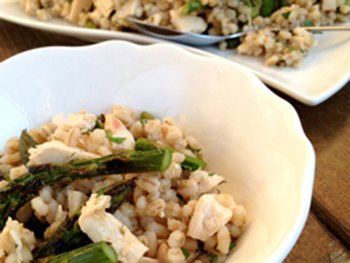 Barley asparagus chicken salad