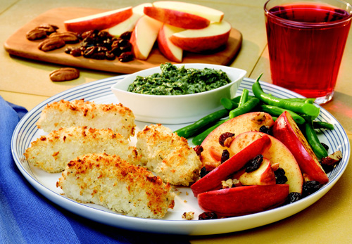Easy Oven Fish Sticks with Spinach Basil Dipping Sauce and Spiced Apples