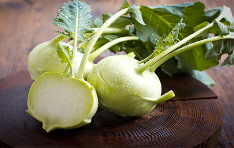 Kohlrabi is a member of the cabbage family and in German means cabbage turnip.
