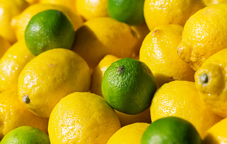 To extract the most juice from lemons and limes press firmly and roll the fruit under your palm before slicing.