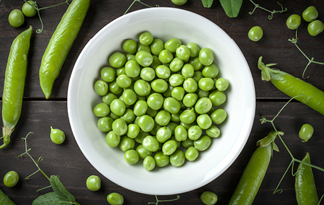 Peas are an excellent source of fibre, folate and thiamin.