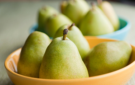 To prevent pears from browning, coat cut surfaces with lemon juice.