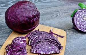 Red Cabbage on cutting board