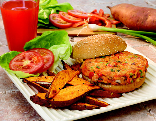 Salmon Burgers and Sweet Potato Oven Fries