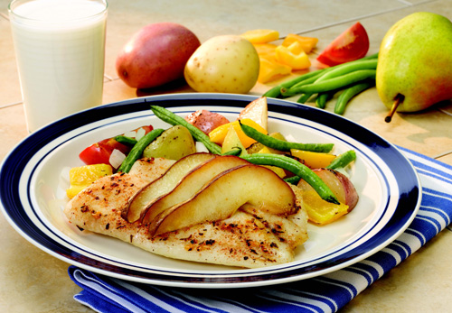 Easy Oven Packet Caribbean Tilapia with Pears and Carnival Roasted Potatoes