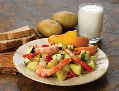 Yellow Potato and Red Pepper Shrimp Sauté