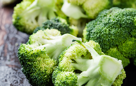 Broccoli is available in purple or a deep green colour, though the most popular colour is green.