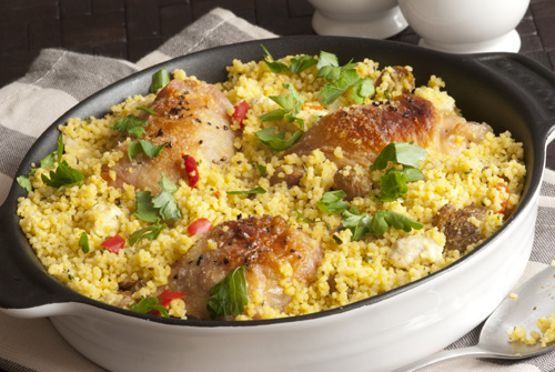 Chicken Scallopine with Grilled Veggie Couscous