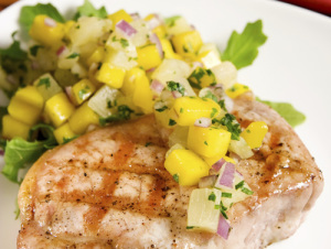 Grilled Pork Chops with Summer's Peaches and Corn