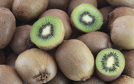 Kiwis do no turn brown when exposed to air making them a perfect addition to a fruit salad or to use as a garnish.