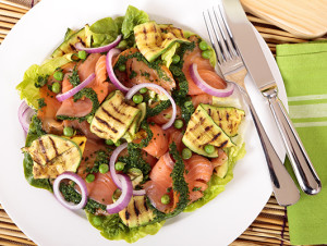 Grilled Zucchini and Smoked Salmon Salad
