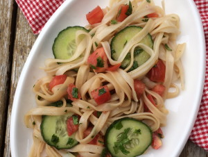 Cucumber Tomato Rice Noodle Salad