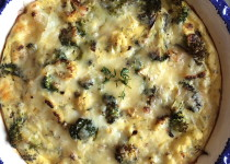 Roasted broccoli and cauliflower quiche