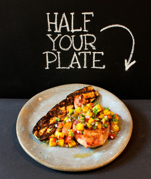 Grilled Pork Chops with Fresh Peach Salsa and Grilled Zucchini_SM