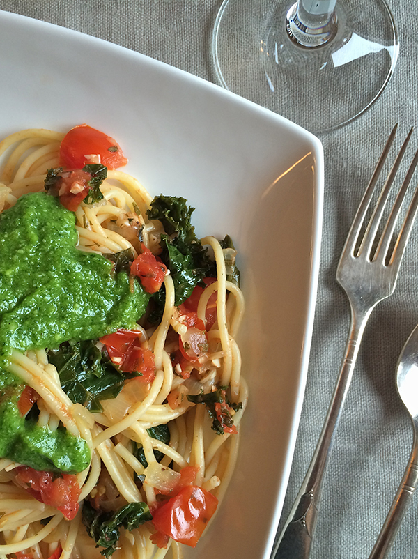 Kale and Tomato spagheti