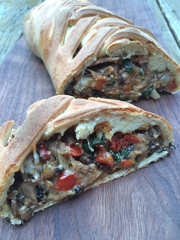 Mushroom and spinach braid