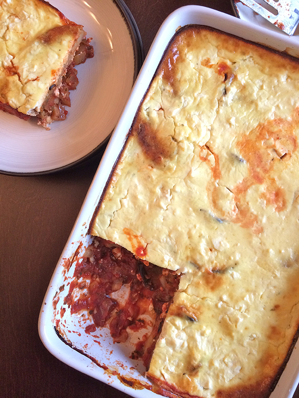 Roast eggplant and potato moussaka