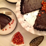 Pomegranate Jewelled Chocolate Coconut Tart