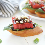 Grilled Watermelon Crostini with Honey Balsamic Reduction