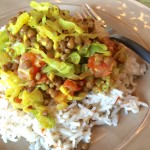 Onion Cabbage and Lentils with Rice