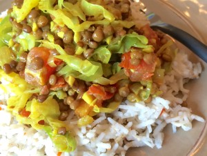 Onion Cabbage Lentils with Rice