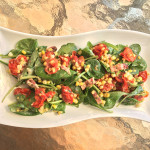 Roasted Tomato and Corn Spinach Salad