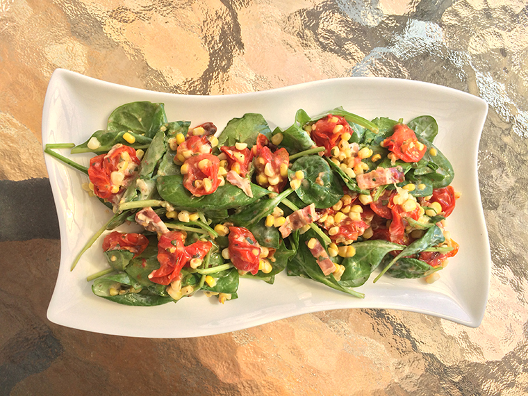 Roast Tomato and Corn Spinach Salad from Emily Richards