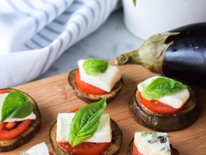 3 appetizers, 5 ingredients – coming together simply | Grilled Eggplant Canapés