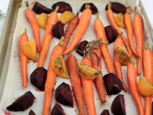 Carrots and beets on a sheet pan