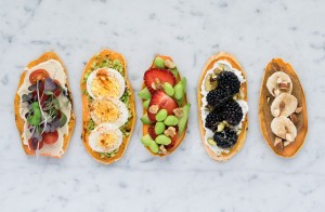 Variation of sweet potato toast with toppings