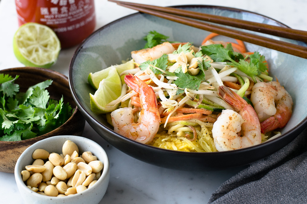 Shrimp Pad Thai with Spaghetti Squash and Zucchini Noodles