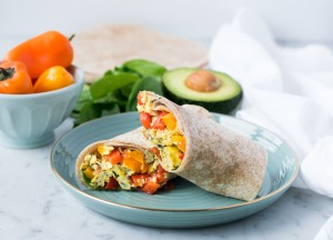 Egg and Veggie breakfast wrap on wholewheat tortilla