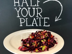Red Cabbage Salad with Cranberry Vinaigrette, Apples & Pumpkin Seeds