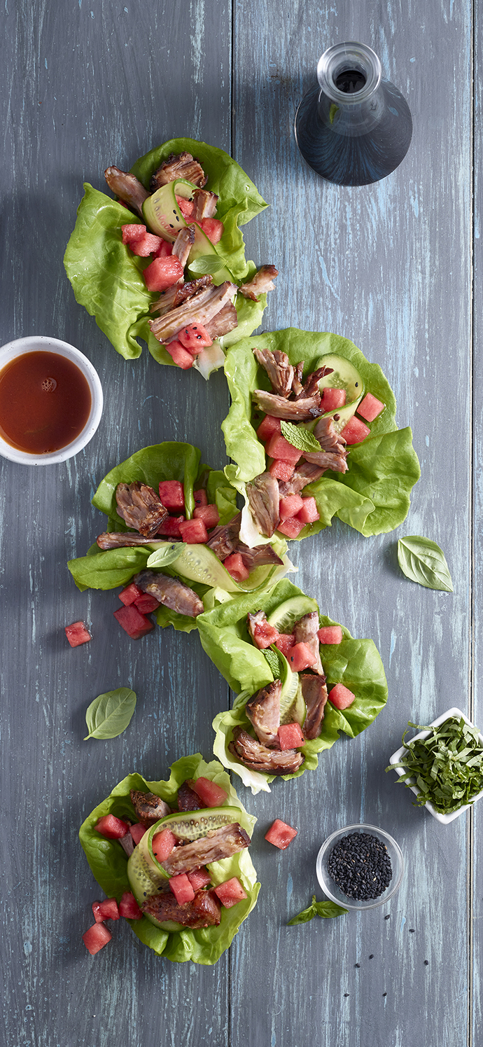 Lettuce Wraps with watermelon and pork