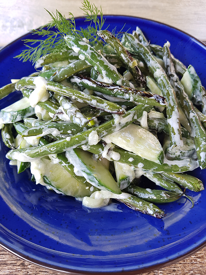 Grilled Green Bean Salad with Dressing